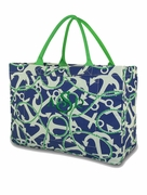 Jute Nautical Rope Anchor Tote Bag
