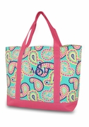 Large Paisley Tote - Monogrammed