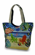 Monogram Beach Scene Tote Bag