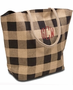 Monogram Checkered Tote Bag | Personalized