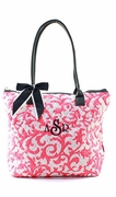 Monogram Damask Print Travel Tote