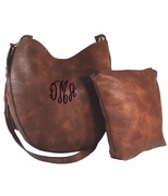 Monogram Faux Leather Cross Body Purse