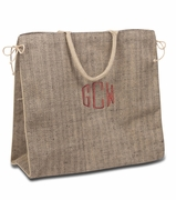 Monogram Herringbone Tweed Tote Bag