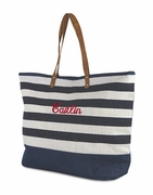 Monogram Large Jute Beach Tote - Stripe