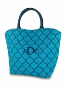 Monogram Quatrefoil Jute Tote Bag | Embroidered
