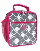 Monogram Quatrefoil Pattern Cooler Lunch Bag