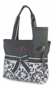 Monogram Quilted Diaper Bag | Damask Pattern Personalized