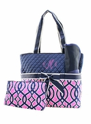 Monogram Quilted Diaper Bag | Vine Pattern Personalized