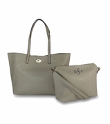 Monogrammed Faux Leather Tote Bags - 2 piece set