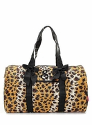 Monogrammed Leopard Quilted Duffle Bag