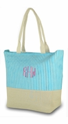 Monogrammed Striped Beach Bag - Personalized