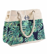 Palm Pattern Canvas Beach Tote