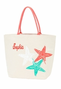 Personalized Canvas Starfish Beach Bag