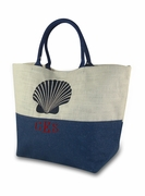 Personalized Color Block Jute Beach Tote