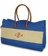 Personalized Color Block Jute Tote