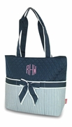 Personalized Quilted Diaper Bag - Pinstripe