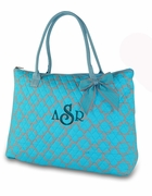 Personalized Quilted Tote Bag Quatrefoil