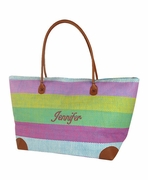 Personalized Striped Beach Tote