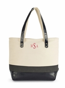 Shoulder Tote Bag with Monogram - Oversized