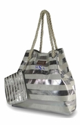 Silver Striped Tote Bag
