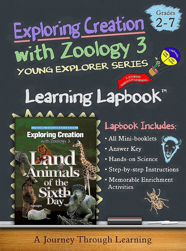 Apologia Zoology 3 Land Animals 14 Folder Color Lapbook and 14 Folder Black & White Combo Instant Download