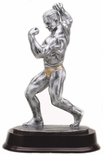 11 INCH MALE BODY BUILDER ANTIQUE SILVER FINISH TROPHY