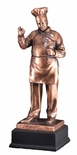 15 INCH ANTIQUE BRONZE ELECTROPLATED CHEF TROPHY ON BLACK WOOD BASE
