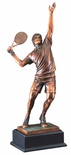 19 INCH ANTIQUE BRONZE ELECTROPLATED MALE TENNIS PLAYER TROPHY ON BLACK WOOD BASE
