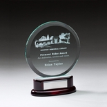 7 INCH ROUND BEVELED GLASS AWARD