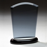 8 INCH SMOKED GLASS AWARD ON BLACK BASE WITH ALUMINUM ACCENTS
