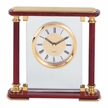 MANTLE CLOCK, GLASS AND ROSEWOOD