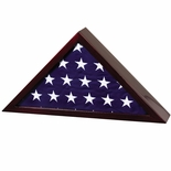 ROSEWOOD PIANO FINISHED WOOD FLAG CASE, HOLDS 5 X 10 INCH AMERICAN FLAG