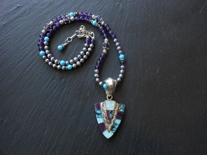 Shalako Pendant and Beads by David Rosales