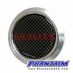 Gravity Wheels - Gullflame Center Cap - Carbon Fiber Center, Red Logo (4 Piece Set)