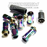 Kics Project (31876NK) R40, Extended Lug Nut Set, with Wheel Lock Key (12 x 1.50 mm) Neo Chrome Color, Titanium Coating, Acura, Chevy, Ford, Honda, Lexus, Mazda, Mitsubishi, Scion, Toyota, etc
