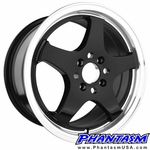 SSK 002 WHEELS - GLOSS BLACK, MACHINED LIP (16 X 7.0) +40 ET (4 X 100 MM)
