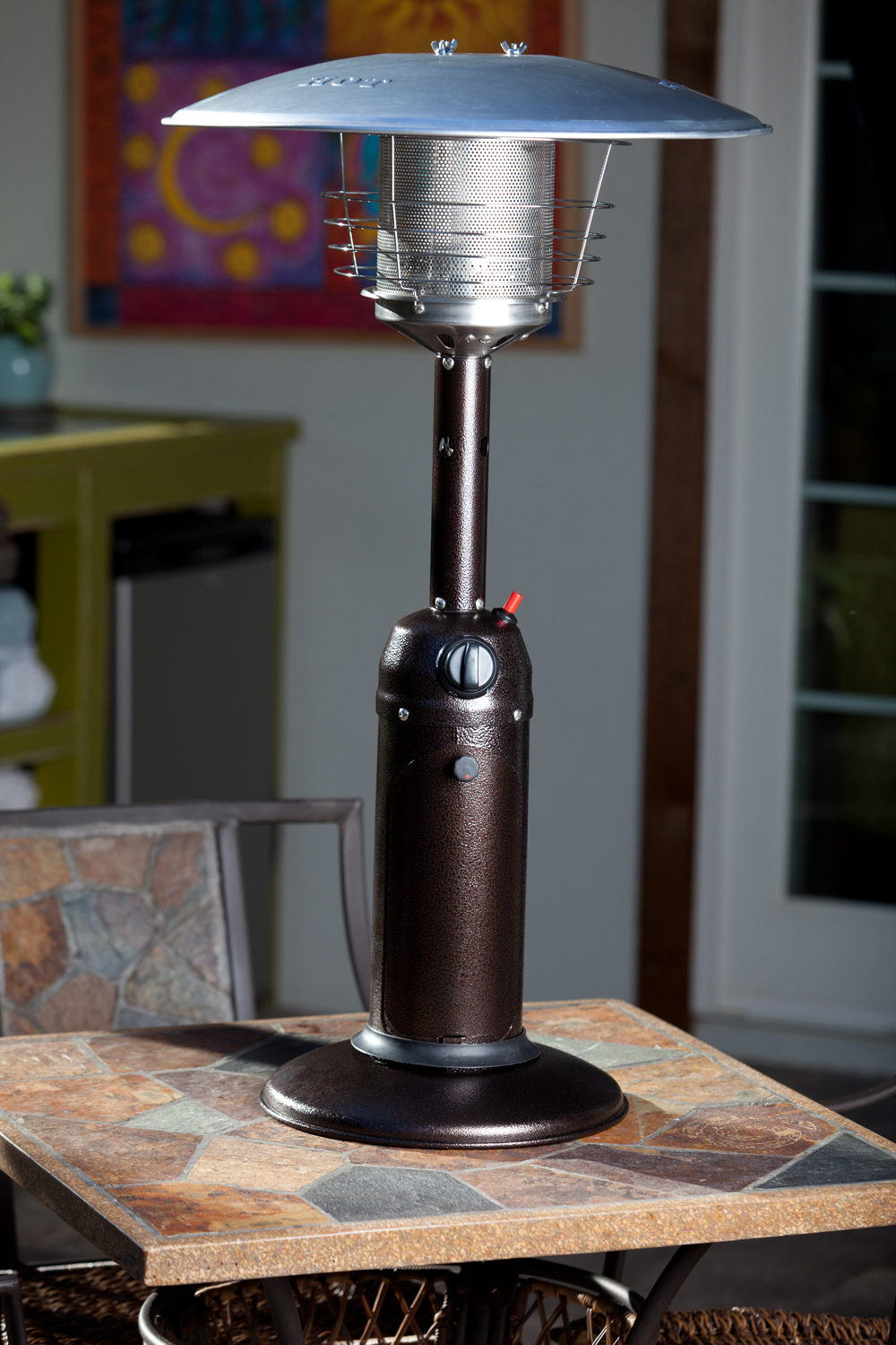 61322 Hammered Bronze Finish Table Top Patio Heater