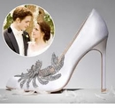 """Antique Silver Clear Crystal """"Twilight"""" Inspired Shoe Clips"""