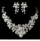 Antique Silver Clear Swarovski Crystal Jewerly Set