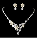 Antique Silver Freshwater Pearl & CZ Crystal Necklace & Earrings