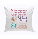 Baby Girl Announcement Throw Pillow