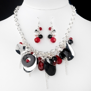 Black & Red Necklace and Earrings
