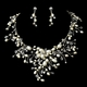 Clear Crystal & Ivory Freshwater Pearl Necklace & Earring Set