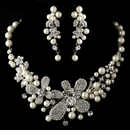 Diamond White Pearl & Rhinestone Necklace & Earrings