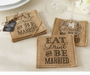 Eat Drink & Be Married Burlap Coasters (Set of 2)