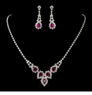 Fuchsia Round Rhinestone Necklace & Earrings