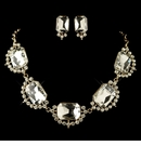Gold Clear Radiant Rhinestone Jewelry Set