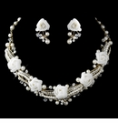 Gold Ivory Pearl, Rhinestone & Swarovski Crystal Necklace & Earrings Flower Jewelry Set