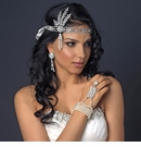 Great Gatsby Inspired Light Rhodium Headpiece with Ivory Pearls & Ivory Ribbon