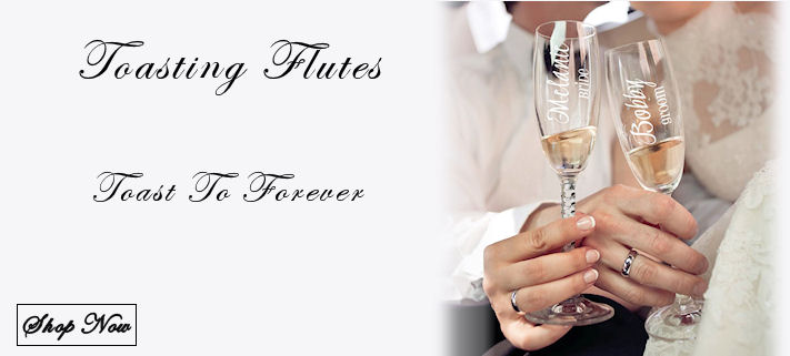 Bride and Groom Toasting Flutes